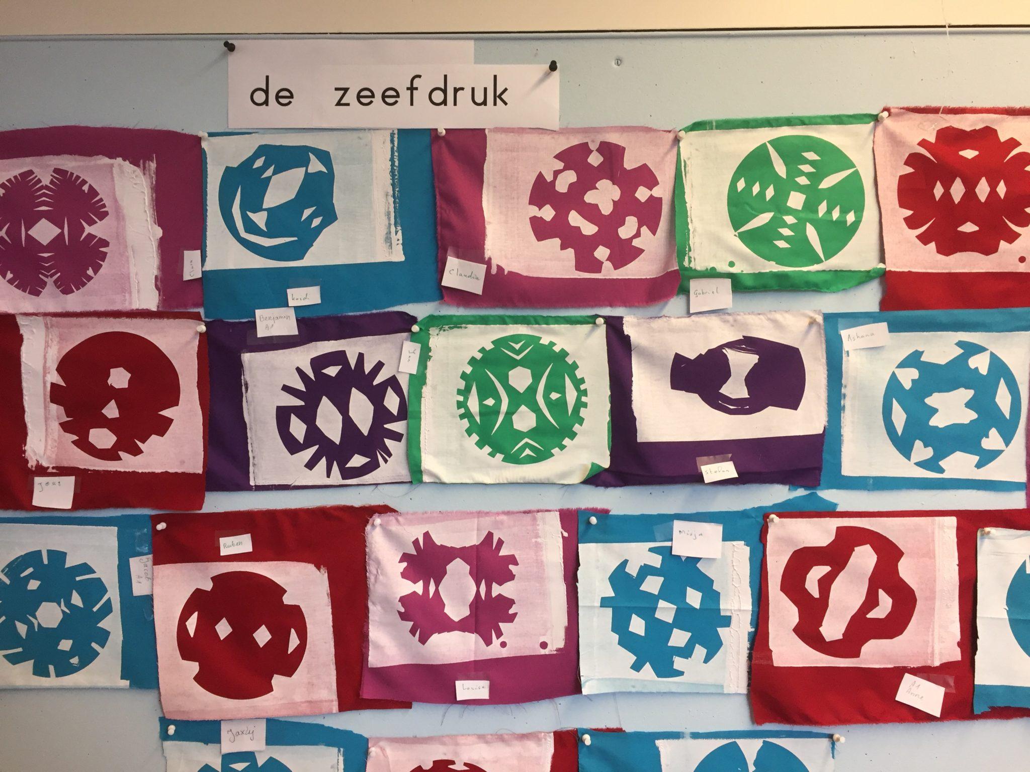 zeefdrukken in de klas, kunstpost kunstenaar in de klas coh